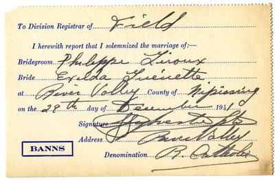 Certificat de mariage de / Marriage certificate of Philippe Giroux & Exilda Guénette
