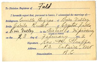 Certificat de mariage de / Marriage certificate of Camille Bigras & Cécile Rivet