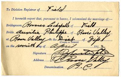 Certificat de mariage de / Marriage certificate of Roméo Lachapelle & Auxilia Philippe