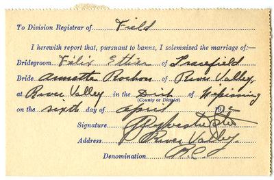 Certificat de mariage de / Marriage certificate of Félix Ethier & Annette Rochon