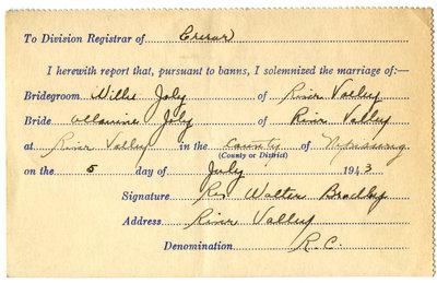 Certificat de mariage de / Marriage certificate of Willie Joly & Allanine Joly
