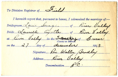 Certificat de mariage de / Marriage certificate of Louis Savage & Laurette Ayotte