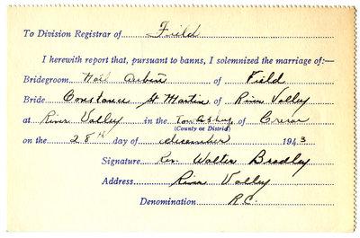 Certificat de mariage de / Marriage certificate of Noël Aubin & Constance St-Martin