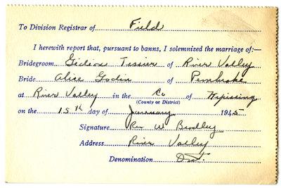 Certificat de mariage de / Marriage certificate of Gédéon Tessier & Alice Godin