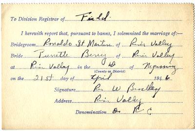 Certificat de mariage de / Marriage certificate of Ronaldo St-Martin & Pierrette Berry