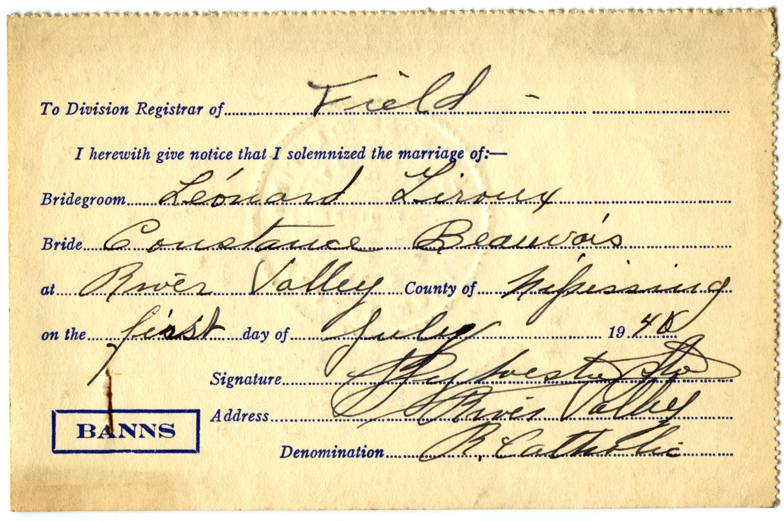 Certificat de mariage de / Marriage certificate of Léonard Giroux & Constance Beauvais
