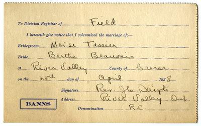 Certificat de mariage de / Marriage certificate of Moïse Tessier & Berthe Beauvais
