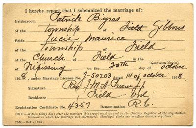 Certificat de mariage de / Marriage certificate of Patrick Bigras & Lucie Maurice
