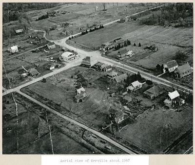 Aerial view of Orrville 1947