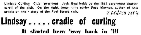 Lindsay... cradle of curling - 7 March 1964