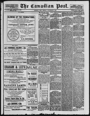Canadian Post (Lindsay, ONT), 9 Nov 1888