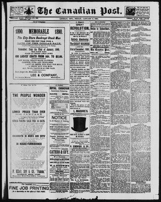 Canadian Post (Lindsay, ONT), 3 Jan 1890