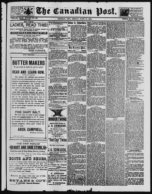Canadian Post (Lindsay, ONT), 27 Jun 1890