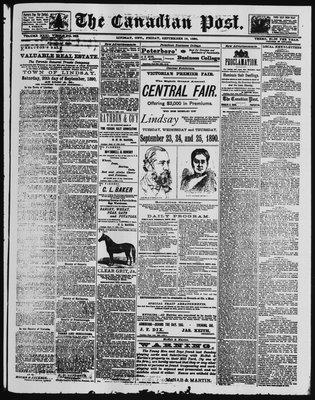 Canadian Post (Lindsay, ONT), 19 Sep 1890