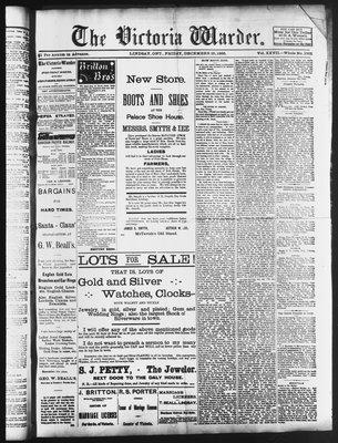 Victoria Warder (Lindsay, ONT), 25 Dec 1885
