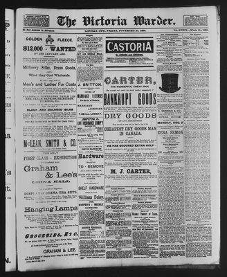 Victoria Warder (Lindsay, ONT), 30 Nov 1888