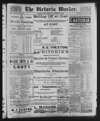 Victoria Warder (Lindsay, ONT), 14 Dec 1888