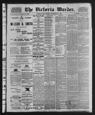 Victoria Warder (Lindsay, ONT), 22 Feb 1889