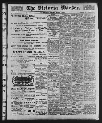 Victoria Warder (Lindsay, ONT), 1 Mar 1889