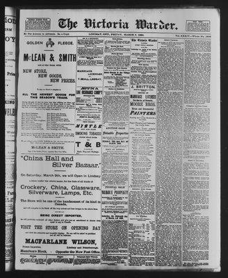 Victoria Warder (Lindsay, ONT), 8 Mar 1889