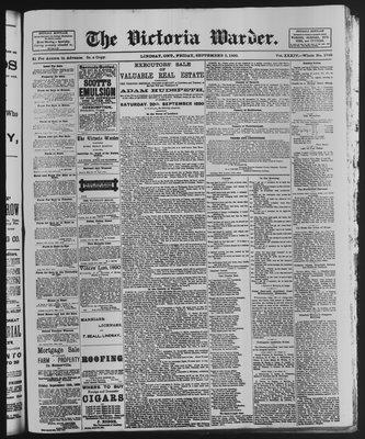 Victoria Warder (Lindsay, ONT), 5 Sep 1890