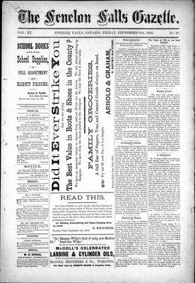 Fenelon Falls Gazette, 9 Sep 1892