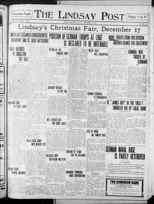 Lindsay Post (1907), 4 Dec 1914