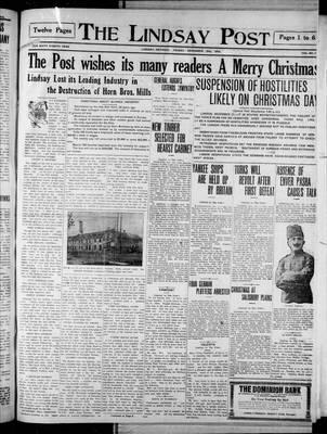 Lindsay Post (1907), 25 Dec 1914