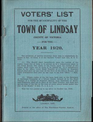 Lindsay Voters List 1920