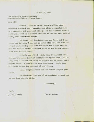 On the Main Street - 31 October 1972 Ford Moynes corresponds with Robert Stanfield about William Scott