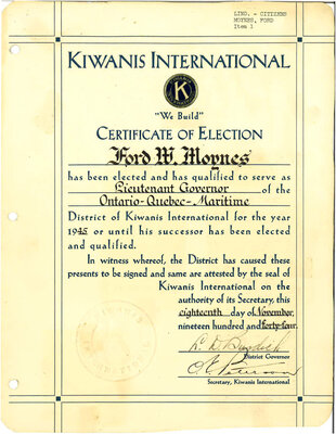 """""""On the Main Street"""" - 18 November 1944 - Kiwanis certificate of election"""