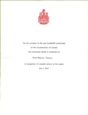 On the Main Street - 1 July 1967 - Centennial Medal letter