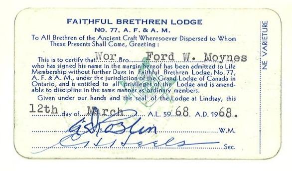On the Main Street - 1968 - Faithful Brethren Lodge No. 77 life membership and Kiwanis Award