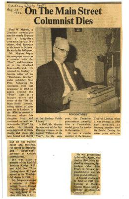 On the Main Street Columnist Dies - 23 August 1982