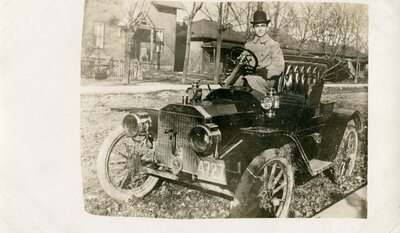 Charlie Williams in early automobile