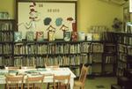 Basement of Carnegie library, children's department, book display, 1973