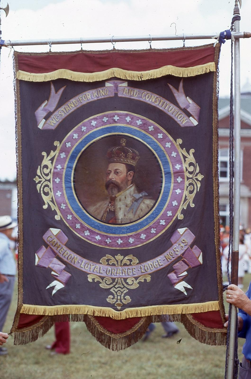 Banners from the Loyal Orange Parade in Lindsay, 1975