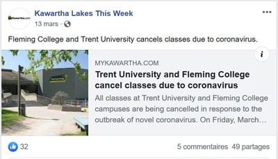 March 13: Trent University and Fleming College cancel classes due to coronavirus