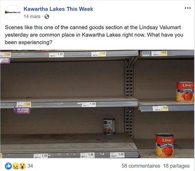 March 14: Empty shelves at Valu-Mart