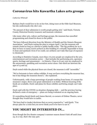 March 18: Coronavirus hits Kawartha Lakes arts groups
