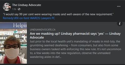 July 28: Are we masking up? Lindsay pharmacist says 'yes'