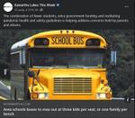 August 31: Area school buses to max out at three kids per seat, or one family per bench
