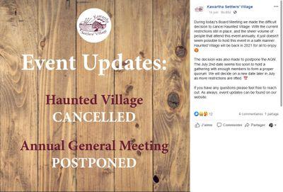 June 16: Kawartha Settlers' Village cancels events