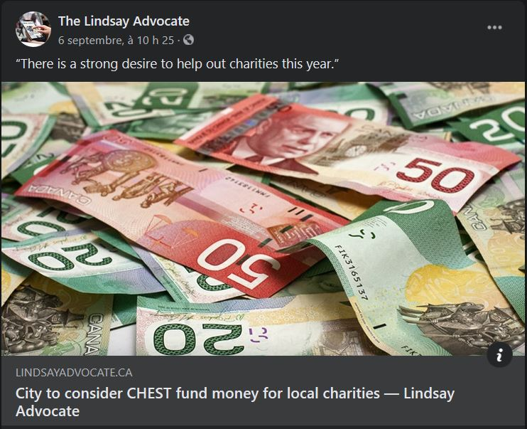 September 6: City to consider CHEST fund money for local charities