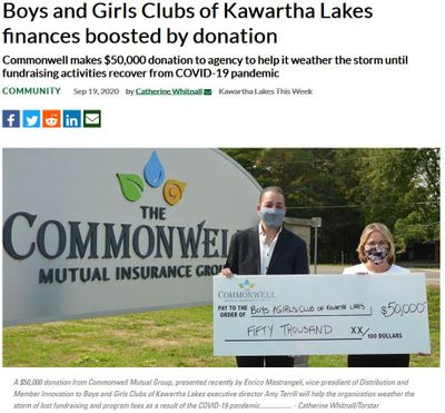 September 19: Boys and Girls Club of Kawartha Lakes finances boosted by donation