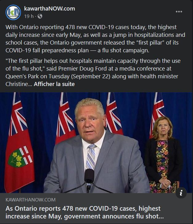 September 22: As Ontario reports 478 new COVID-19 cases, highest increase since May, government announces flu shot campaign