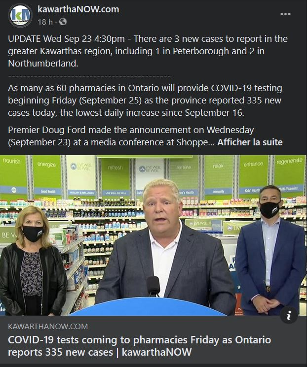September 23: COVID-19 tests coming to pharmacies Friday as Ontario reports 335 new cases