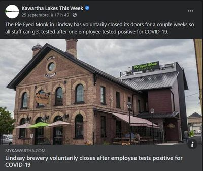 September 25: Lindsay brewery voluntarily closes after employee tests positive for COVID-19