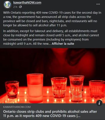 September 25: Ontario closes strip clubs and prohibits alcohol sales after 11 p.m. as it reports 409 new COVID-19 cases