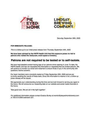 September 26: Pie Eyed Monk Brewery follow-up press release